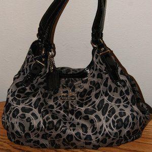 Satin Ocelot Grey & Black Coach hobo style bag